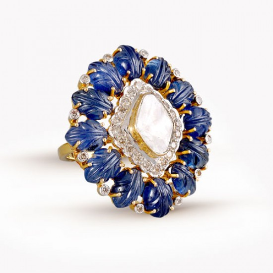 Uncut Diamonds & Carved Blue Sapphires Ring