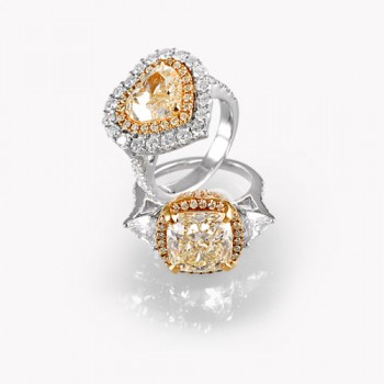 Natural Fancy Colour Solitaire Rings